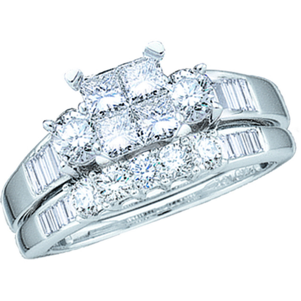 14kt White Gold Womens Princess Diamond Bridal Wedding Engagement Ring Band Set 1.00 Cttw 38021 - shirin-diamonds