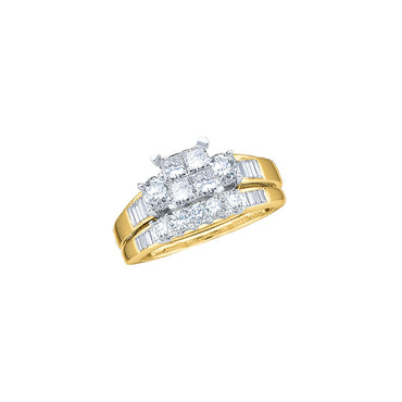 14kt Yellow Gold Womens Princess Diamond Bridal Wedding Engagement Ring Band Set 1.00 Cttw 38022 - shirin-diamonds