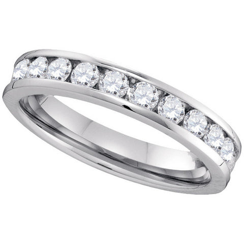14kt White Gold Womens Round Channel-set Diamond 4mm Wedding Band 3/4 Cttw 40727 - shirin-diamonds