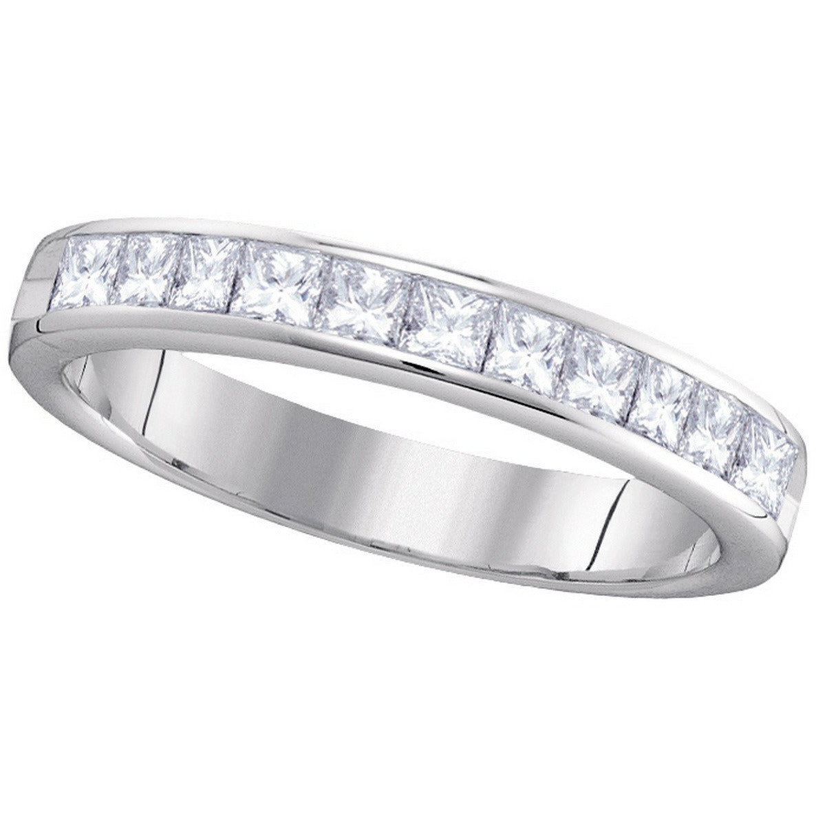 14kt White Gold Womens Princess Diamond 4mm Wedding Band Ring 3/4 Cttw 40742 - shirin-diamonds