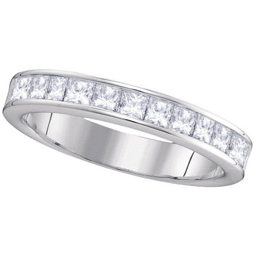 14kt White Gold Womens Princess Channel-set Diamond 4.5mm Wedding Band 1.00 Cttw 40743 - shirin-diamonds