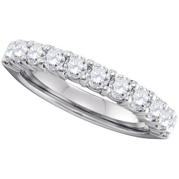 14kt White Gold Womens Round Pave-set Diamond Wedding Band 1.00 Cttw 40748 - shirin-diamonds