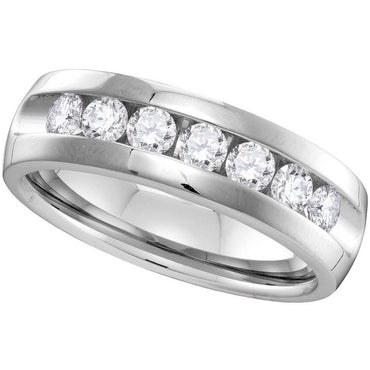 14kt White Gold Mens Round Channel-set Diamond Wedding Band Ring 1.00 Cttw 40784 - shirin-diamonds
