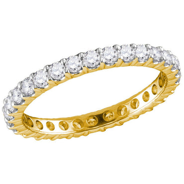 14kt Yellow Gold Womens Round Pave-set Diamond Eternity Wedding Band 1.00 Cttw 40909 - shirin-diamonds
