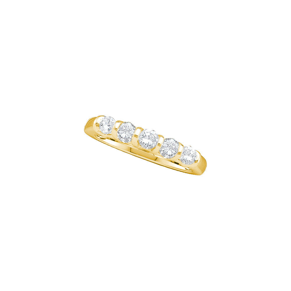 14kt Yellow Gold Womens Round Diamond 5-stone Wedding Anniversary Band 1.00 Cttw 41196 - shirin-diamonds