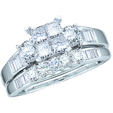 10kt White Gold Womens Princess Diamond Bridal Wedding Engagement Ring Band Set 1.00 Cttw 43587 - shirin-diamonds