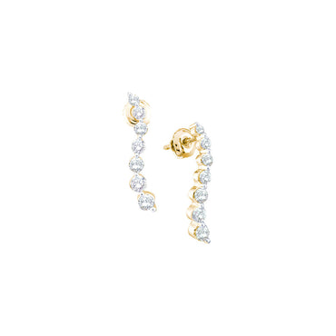 14kt Yellow Gold Womens Round Diamond Graduated Journey Screwback Earrings 1.00 Cttw 43658 - shirin-diamonds
