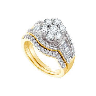 14kt Yellow Gold Womens Round Diamond Cluster Bridal Wedding Engagement Ring Band Set 2.00 Cttw 44425 - shirin-diamonds