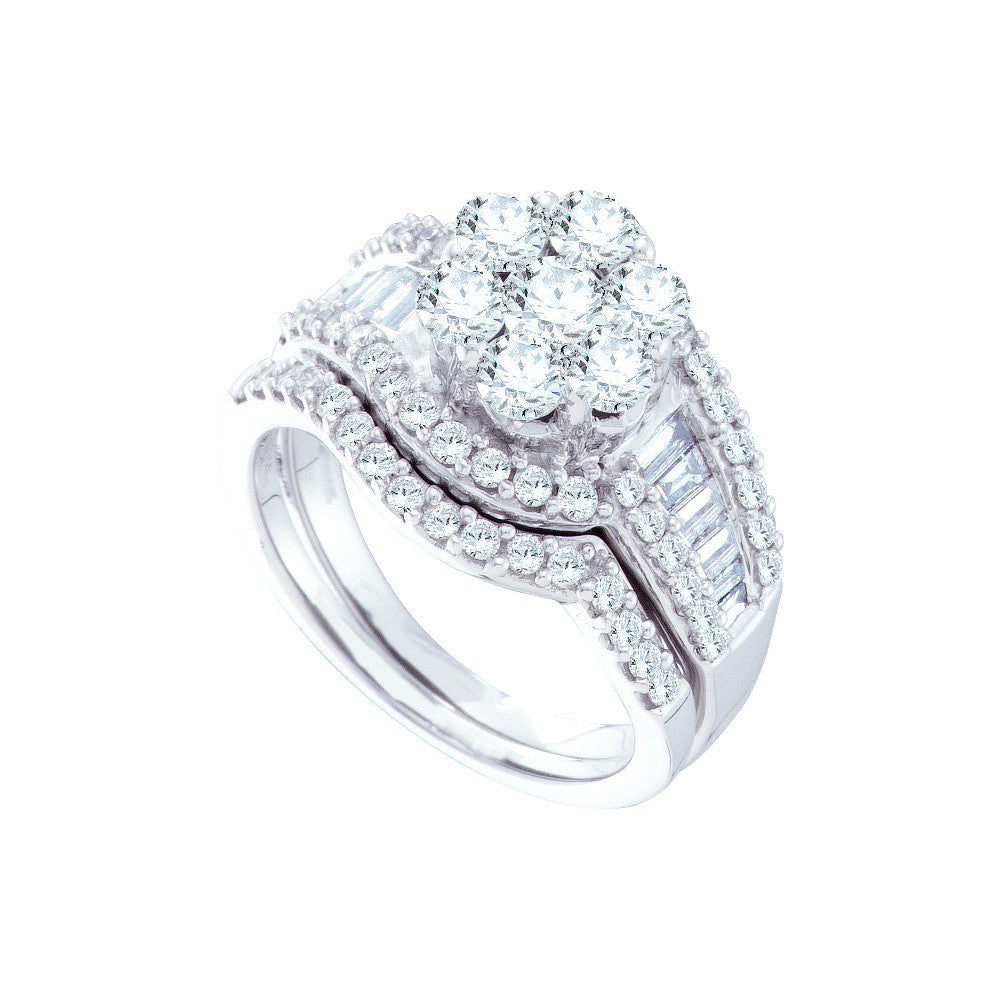 14kt White Gold Womens Round Diamond Cluster Bridal Wedding Engagement Ring Band Set 2.00 Cttw 44426 - shirin-diamonds