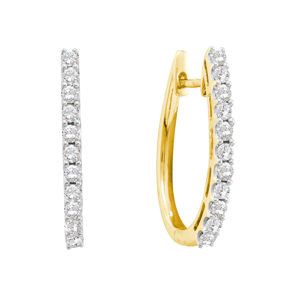 14kt Yellow Gold Womens Round Diamond Hoop Earrings 1.00 Cttw 45509 - shirin-diamonds