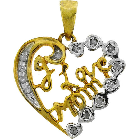 Sterling Silver Womens Round Diamond I Love Mom Heart Pendant 1/8 Cttw 45888 - shirin-diamonds