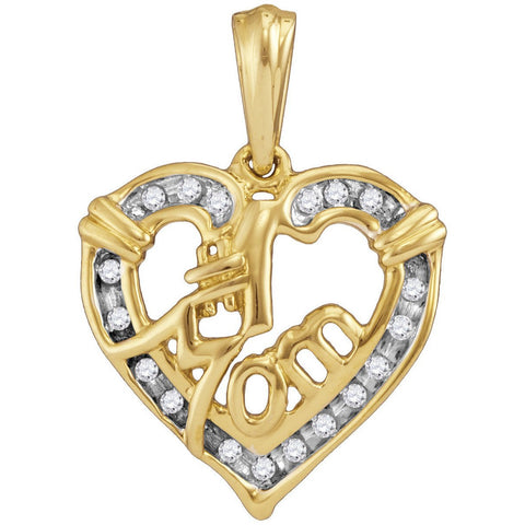 Yellow-tone Sterling Silver Womens Round Diamond Mom Mother Pendant 1/8 Cttw 45892