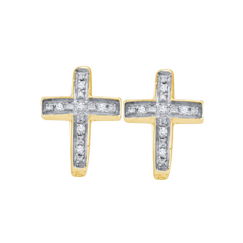 Yellow-tone Sterling Silver Womens Round Diamond Cross Earrings 1/20 Cttw 46783