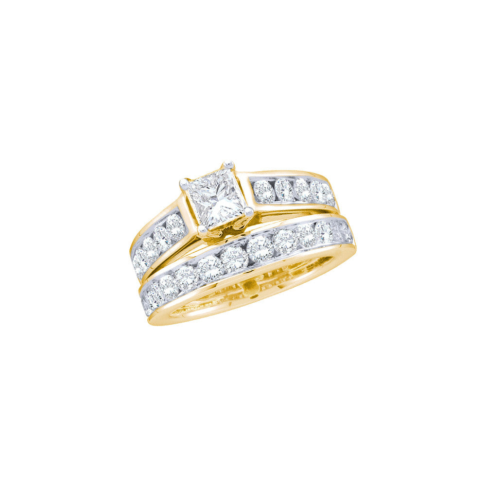 14kt Yellow Gold Womens Princess Diamond Bridal Wedding Engagement Ring Band Set 2.00 Cttw 46840 - shirin-diamonds
