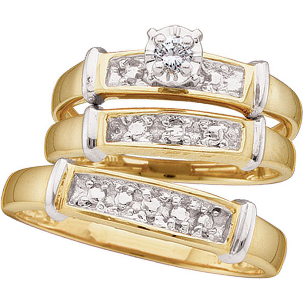 Sterling Silver His & Hers Round Diamond Solitaire Matching Bridal Wedding Ring Band Set 1/12 Cttw 48277 - shirin-diamonds