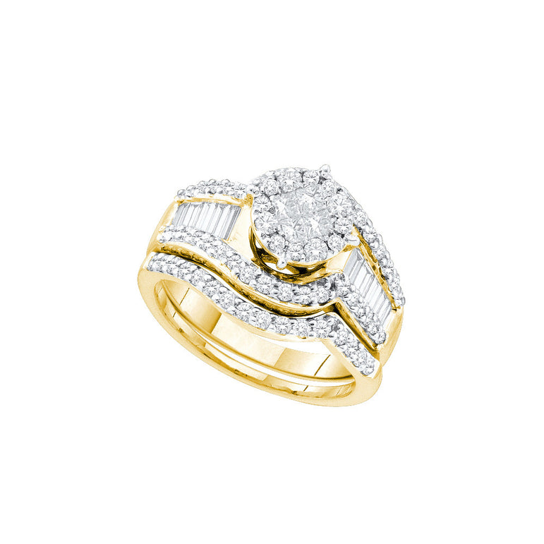 14kt Yellow Gold Womens Princess Diamond Bridal Wedding Engagement Ring Band Set 1-1/4 Cttw 48577 - shirin-diamonds