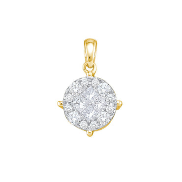 14K White Gold Yellow Princess Round Diamond Soleil Cluster Pendant 1.00 Cttw 48806 - shirin-diamonds