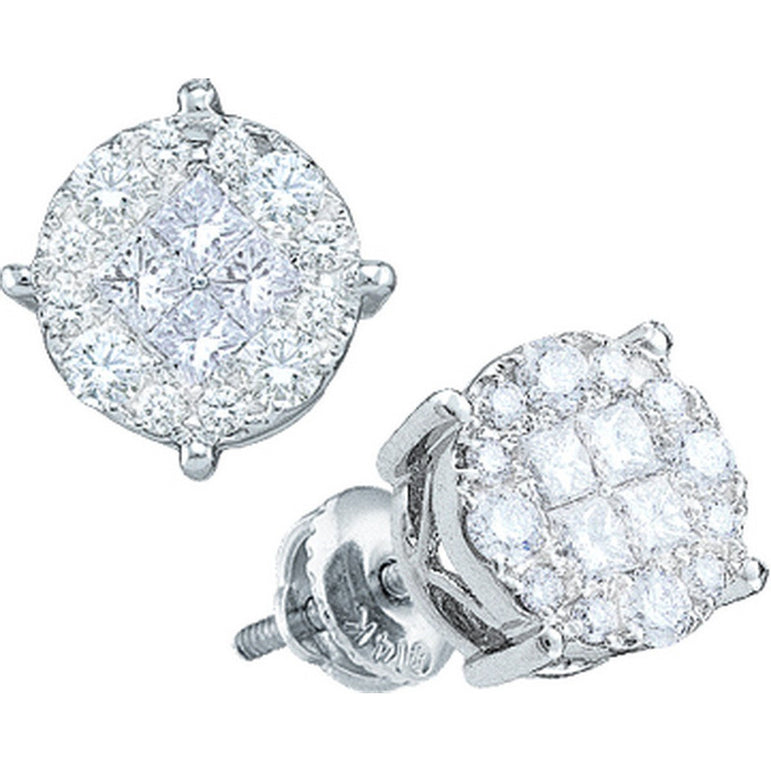 14kt White Gold Womens Princess Diamond Soleil Cluster Screwback Earrings 1-1/2 Cttw 48810 - shirin-diamonds