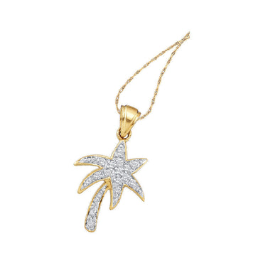 10kt Yellow Gold Womens Round Diamond Palm Tree Nautical Pendant 1/10 Cttw 49534 - shirin-diamonds