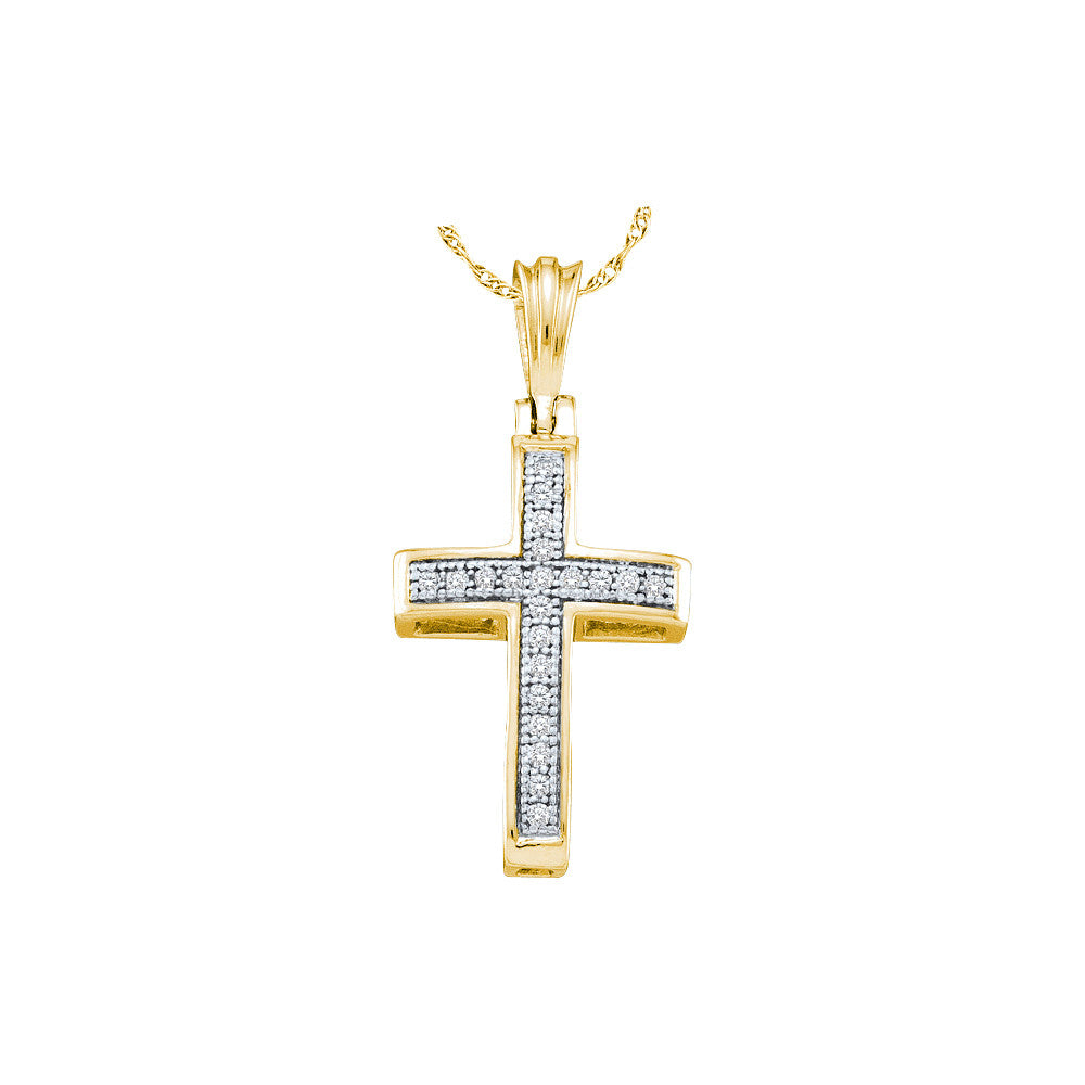 10kt Yellow Gold Womens Round Diamond Cross Faith Pendant 1/12 Cttw 49870 - shirin-diamonds