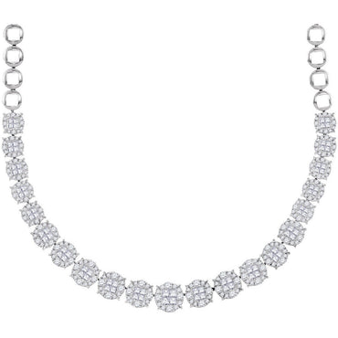 14kt White Gold Womens Princess Diamond Soleil Cluster Luxury Necklace  10 Cttw 49886 - shirin-diamonds