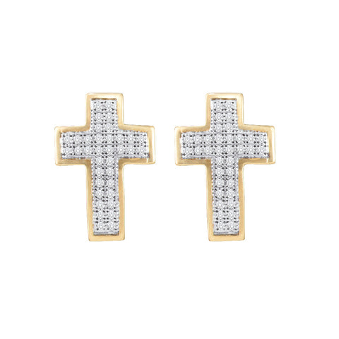 10kt Yellow Gold Womens Round Diamond Cross Earrings 1/5 Cttw 50498
