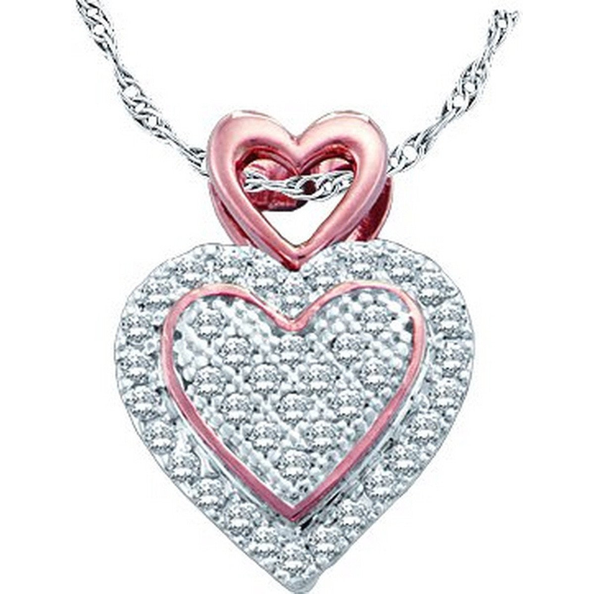 10kt White Gold Womens Round Diamond Rose-tone Heart Cluster Pendant 1/6 Cttw 51150 - shirin-diamonds