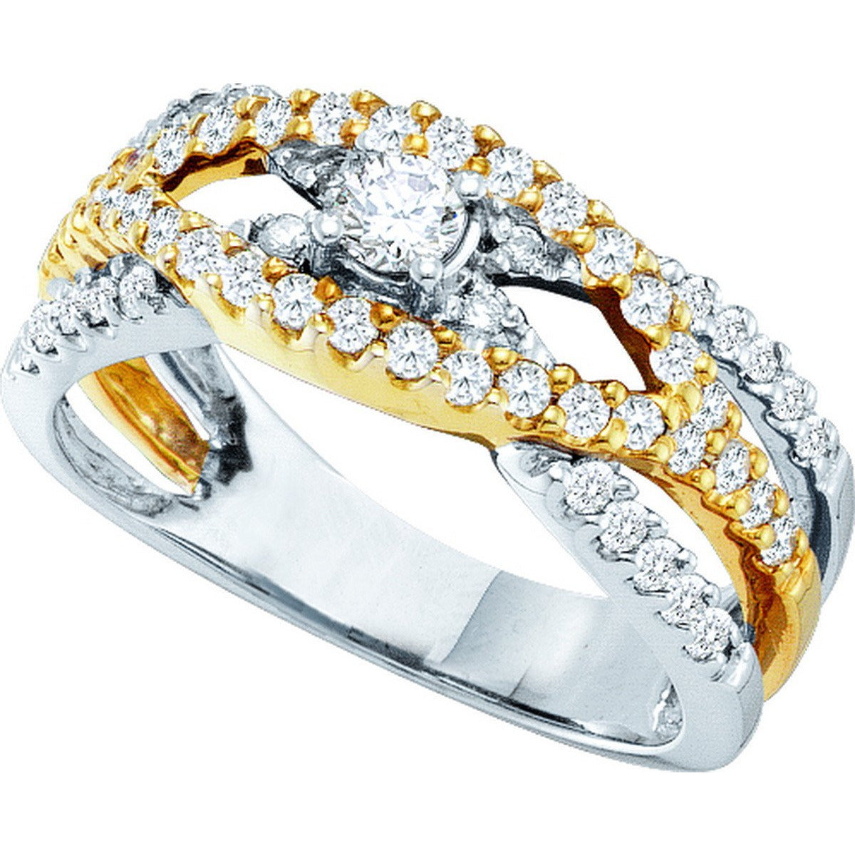 14kt White Gold Womens Round Diamond Solitaire Two-tone Bridal Wedding Engagement Ring 3/4 Cttw 51972 - shirin-diamonds