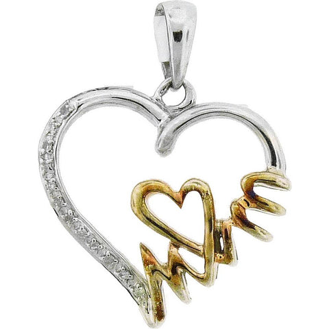 Sterling Silver Womens Round Diamond Yellow-tone Mom Heart Pendant 1/20 Cttw 52276 - shirin-diamonds