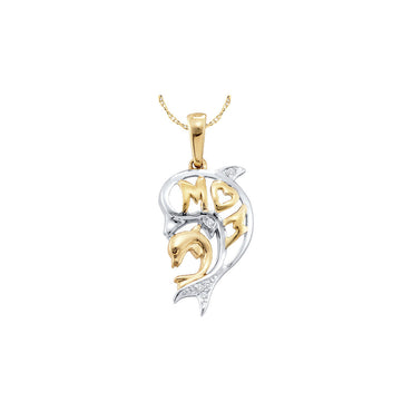 10kt Yellow Gold Womens Round Diamond Two-tone Double Dolphin Mom Pendant .03 Cttw 52286 - shirin-diamonds