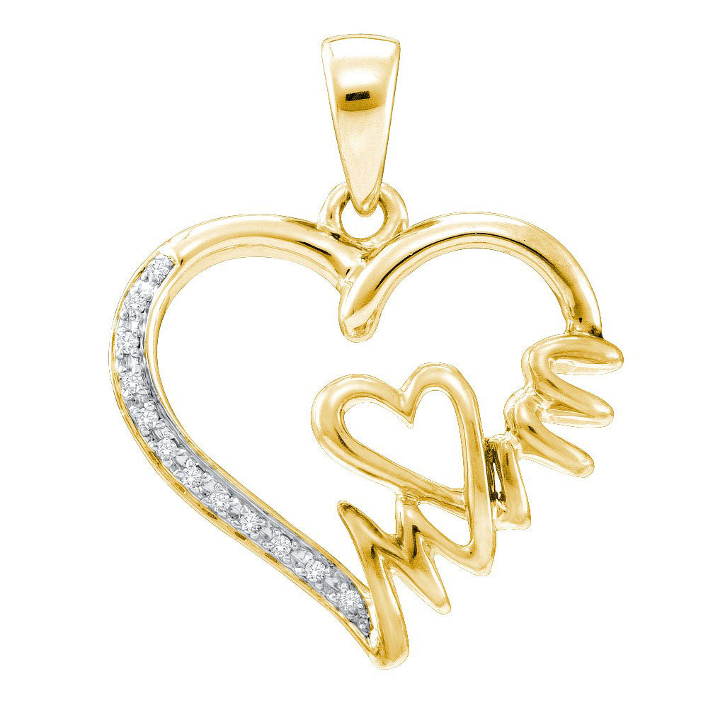 Yellow-tone Sterling Silver Womens Round Diamond Mom Heart Pendant 1/20 Cttw 52700 - shirin-diamonds