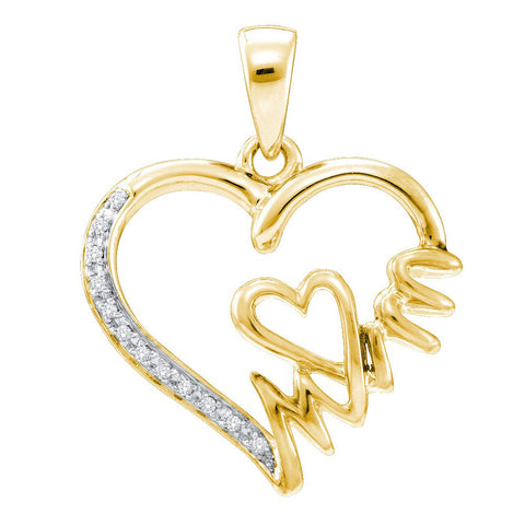Yellow-tone Sterling Silver Womens Round Diamond Mom Heart Pendant 1/20 Cttw 52700