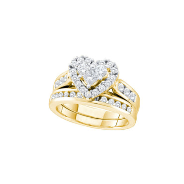 14k Yellow Gold Womens Round Princess Diamond Heart Wedding Bridal Ring Set 1.00 Cttw 52763 - shirin-diamonds