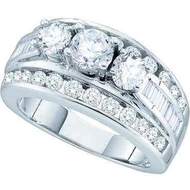 14k White Gold Womens Round Diamond 3-stone Bridal Wedding Engagement Ring 1.00 Cttw 52779 - shirin-diamonds