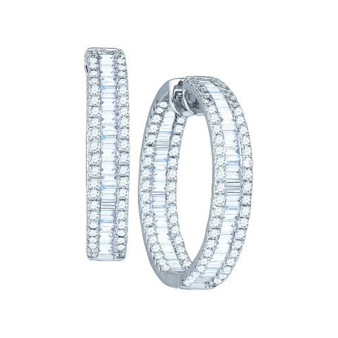14kt White Gold Womens Baguette Round Diamond Inside Outside Hoop Earrings 3-1/2 Cttw 52946 - shirin-diamonds