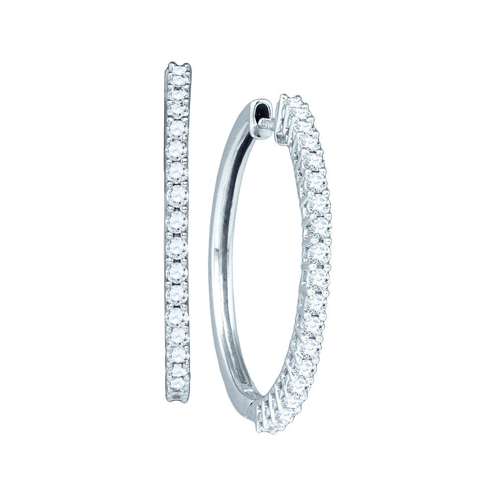 14kt White Gold Womens Pave-set Round Diamond Single Row Hoop Earrings 1.00 Cttw 52950 - shirin-diamonds