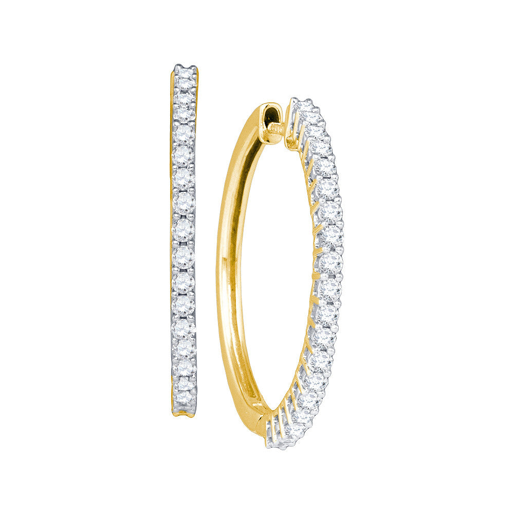 14kt Yellow Gold Womens Round Pave-set Diamond Slender Single Row Hoop Earrings 1.00 Cttw 53676 - shirin-diamonds
