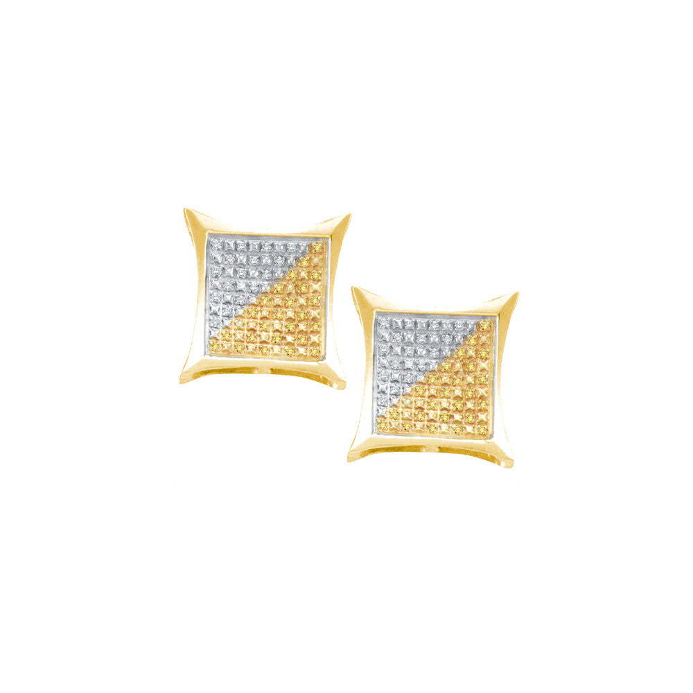 Yellow-tone Sterling Silver Womens Round Colored Diamond Square Kite Clusters Earrings 1/4 Cttw 55147 - shirin-diamonds