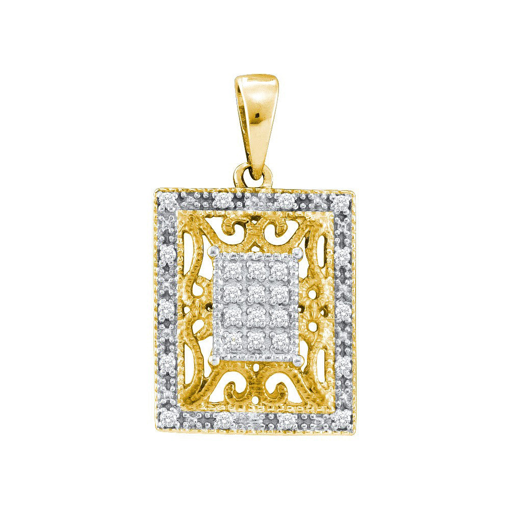 Yellow-tone Sterling Silver Womens Round Diamond Filigree Square Frame Cluster Pendant 1/8 Cttw 55448 - shirin-diamonds