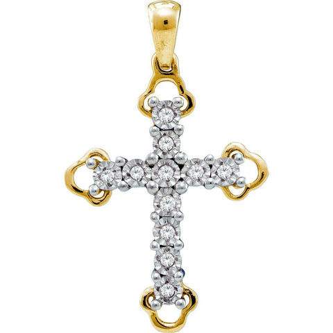 Yellow-tone Sterling Silver Womens Round Diamond Trefoil Tips Christian Cross Pendant 1/8 Cttw 55554