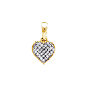 Yellow-tone Sterling Silver Womens Round Diamond Small Heart Cluster Pendant 1/10 Cttw 56320 - shirin-diamonds
