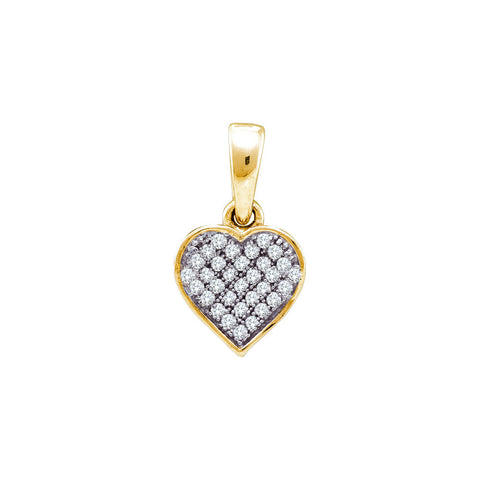 Yellow-tone Sterling Silver Womens Round Diamond Small Heart Cluster Pendant 1/10 Cttw 56320