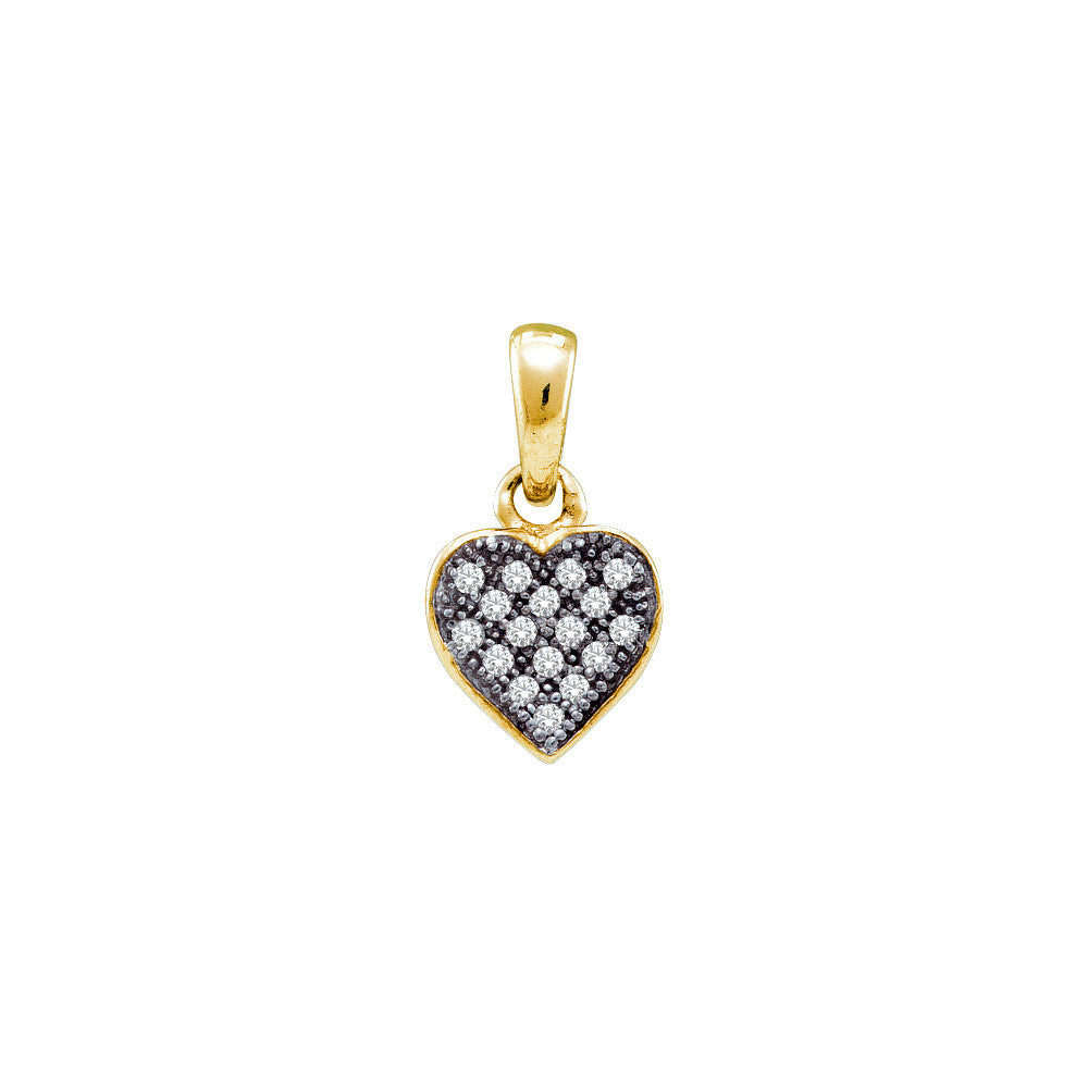 Yellow-tone Sterling Silver Womens Round Diamond Small Heart Cluster Pendant 1/20 Cttw 56322 - shirin-diamonds