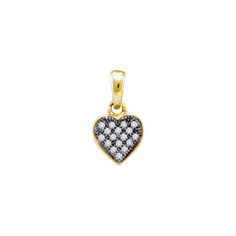 Yellow-tone Sterling Silver Womens Round Diamond Small Heart Cluster Pendant 1/20 Cttw 56322