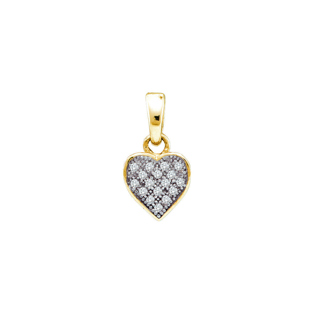 Yellow-tone Sterling Silver Womens Round Diamond Heart Cluster Pendant 1/20 Cttw 56354 - shirin-diamonds