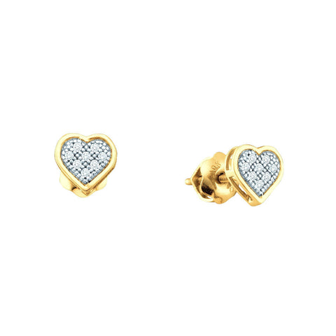 Yellow-tone Sterling Silver Womens Round Diamond Heart Screwback Earrings 1/20 Cttw 56356 - shirin-diamonds