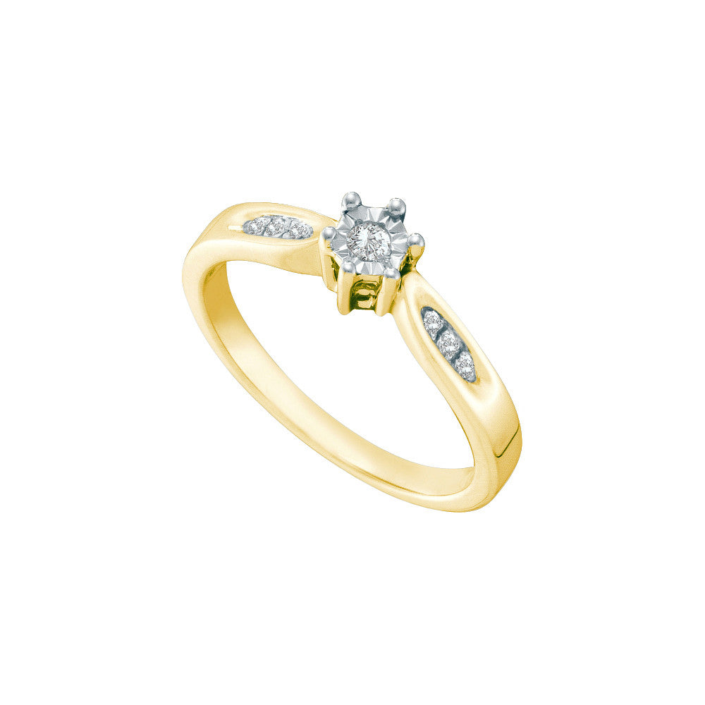 Yellow-tone Sterling Silver Womens Round Diamond Solitaire Bridal Wedding Engagement Ring 56942 - shirin-diamonds