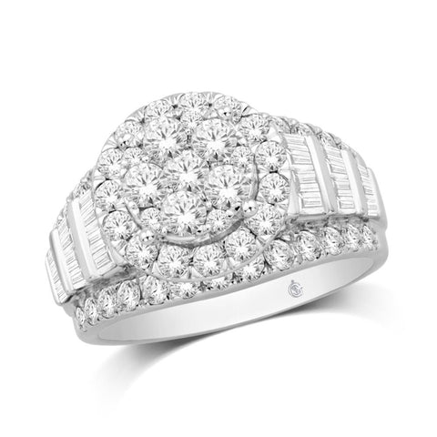 10K White Gold 1 Ct.Tw. Diamond Flower Ring