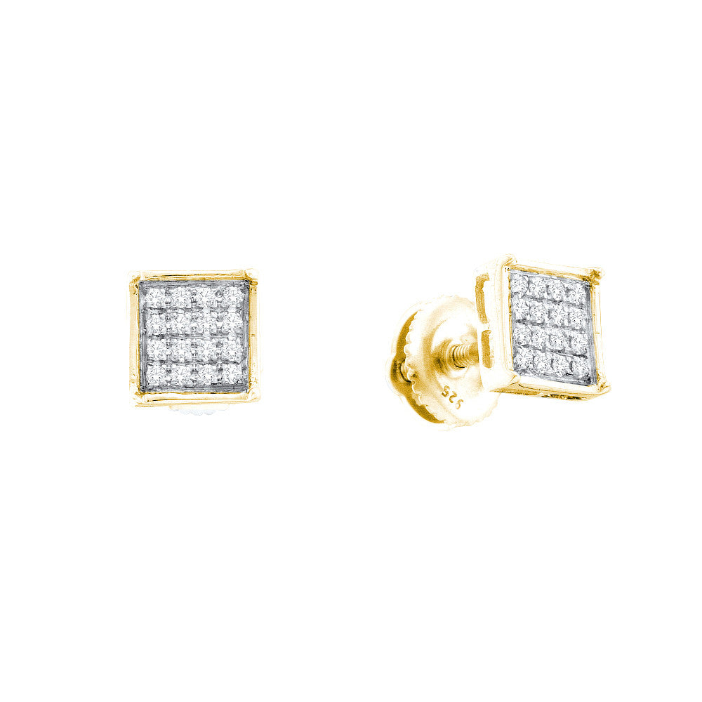 Yellow-tone Sterling Silver Womens Round Diamond Square Earrings 1/4 Cttw 57543 - shirin-diamonds