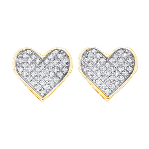 Yellow-tone Sterling Silver Womens Round Diamond Heart Cluster Earrings 1/4 Cttw 57548 - shirin-diamonds
